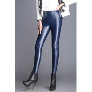High Waist PU Thick Pencil Pants