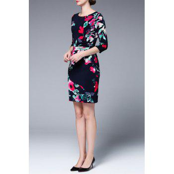 Floral Print Mini Fitted Dress - FLORAL L
