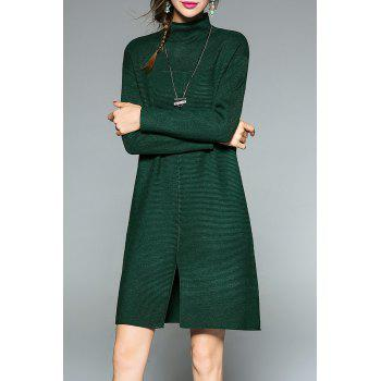 Slit Mock Neck Knit Dress