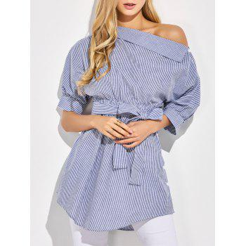 One-Shoulder Belted Striped Casual Blouse