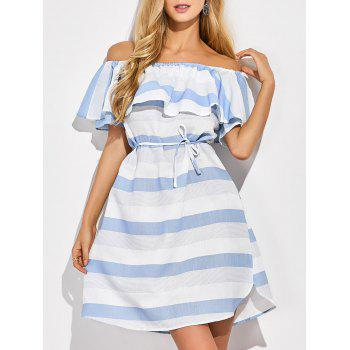 Off The Shoulder Striped Ruffles Dress