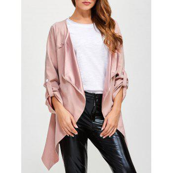 Drape Front Rolled Sleeve Coat - PINK 5XL