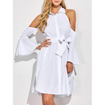 Cold Shoulder Flare Long Sleeve Button Up Shirt Dress - WHITE WHITE