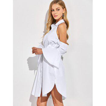 Cold Shoulder Flare Long Sleeve Button Up Shirt Dress - WHITE XL