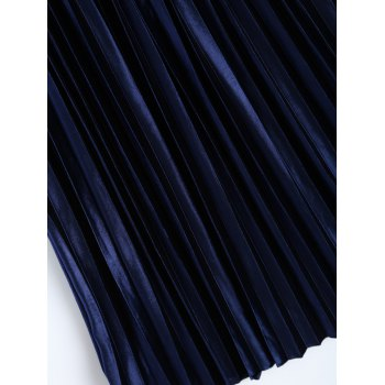 Accordion Pleat Velvet Skirt - SAPPHIRE BLUE ONE SIZE