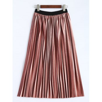 Accordion Pleat Velvet Skirt