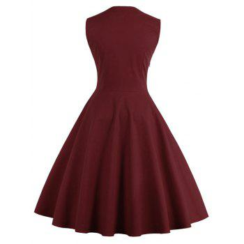 Midi Polka Dot Prom Rockabilly Swing Vintage Prom Dresses - DARK RED 2XL
