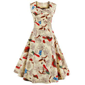 Sleeveless Flower Print Vintage Swing Dress