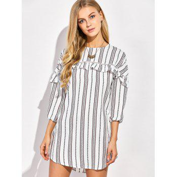 Casual Round Neck Ruffles Striped Shift Dress with Sleeves
