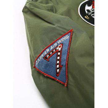 Zip Up Badge Patched Bomber Jacket - ARMY GREEN 2XL