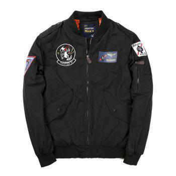 Zip Up Badge Patched Bomber Jacket