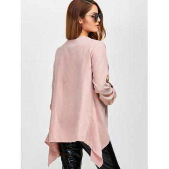 Drape Front Rolled Sleeve Coat - PINK PINK