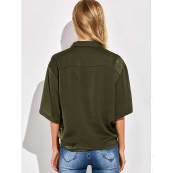 Tie Front Casual Shirt - GREEN GREEN