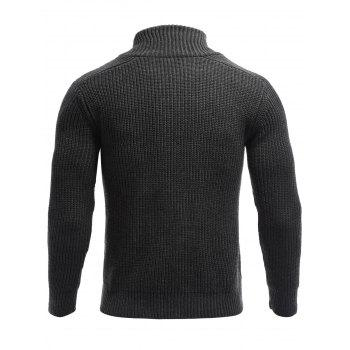 Long Sleeve Flat Knitted Toggle Sweater - BLACK M