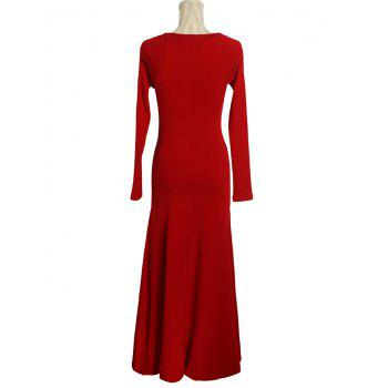Color Block Long Sleeve Maxi Dress - RED M