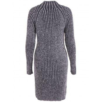 High Neck Long Sleeve Ribbed Fitted Jumper Dress - BLACK GREY ONE SIZE