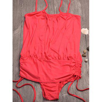 Spaghetti Strap Ruched Maillots de bain - Rouge 2XL
