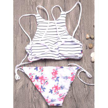 Strappy Floral Print Striped Bikini Set - WHITE XL