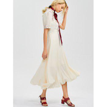 Floral Embroidered Going Out Swing Dress - LIGHT APRICOT LIGHT APRICOT