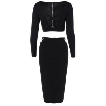 Cropped Long Sleeve Top and Pencil Skirt - BLACK BLACK