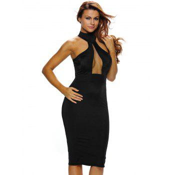Mesh Insert Bodycon Night Out Dress - BLACK S