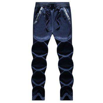 Zip Up Camouflage Insert Hoodie and Sweatpants - DEEP BLUE M