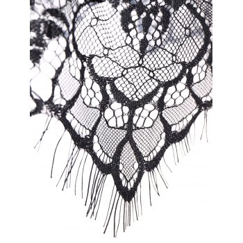 Back Closure See Through Lace Seamless Bustier Bra - BLACK S