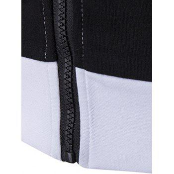 Pocket Contrast Panel Zip Front Hoodie - WHITE M