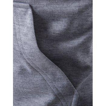Pocket Contrast Panel Zip Up Hoodie - LIGHT GRAY M