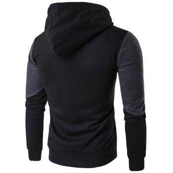 Pocket Contrast Panel Zip Up Hoodie - BLACK 2XL