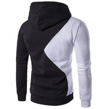 Two Tone Long Sleeve Pullover Hoodie - BLACK 2XL