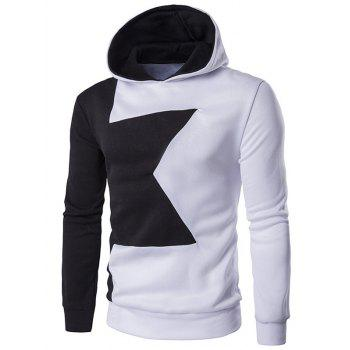 Two Tone Long Sleeve Pullover Hoodie - WHITE WHITE