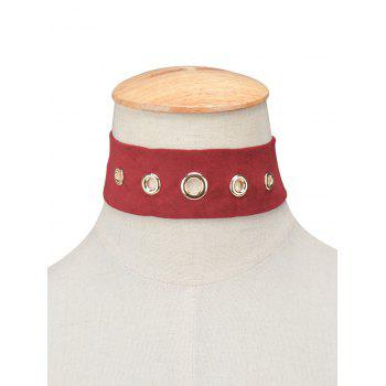 Rivet Suede Choker Necklace - BURGUNDY