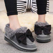 Stitching Bowknot Faux Lamb Wool Snow Boots