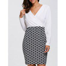 Long Sleeve Argyle Faux Wrap Fitted Dress