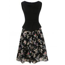 Chiffon Insert Sleeveless Fake Twinset Dress