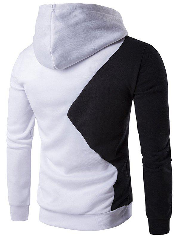 Two Tone Long Sleeve Pullover Hoodie - WHITE XL