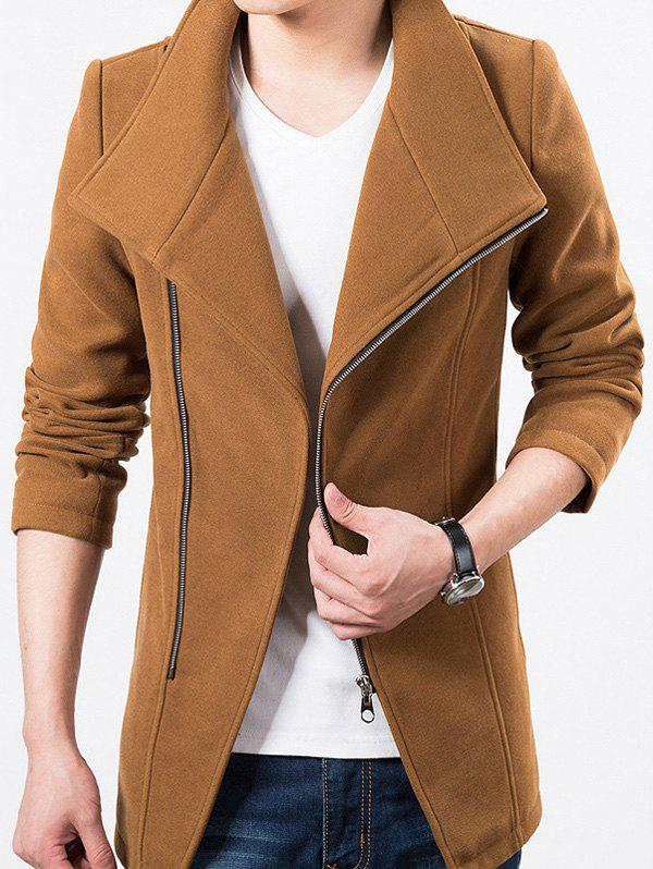 Stand Collar Side Zipper Up Wool Blend Jacket, Camel