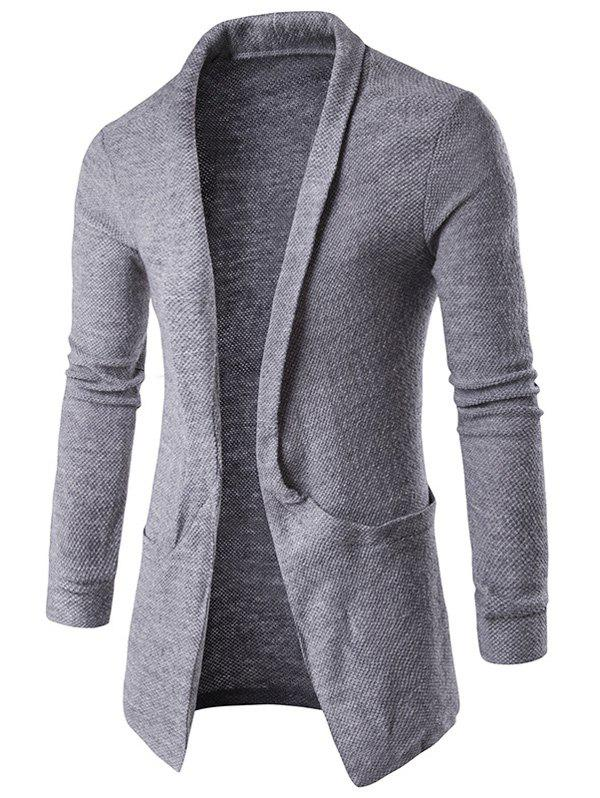 Texture Pocket Open Front Cardigan - GRAY M