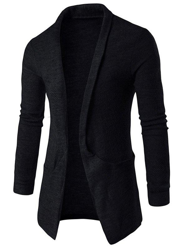 Texture Pocket Open Front Cardigan - BLACK XL