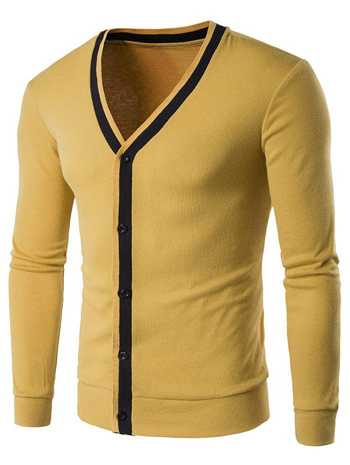 V Neck Button Up Contrast Trim Cardigan - YELLOW M