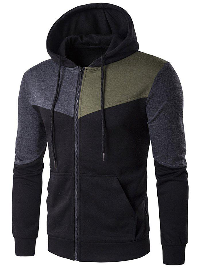 Pocket Contrast Panel Zip Up Hoodie - BLACK M