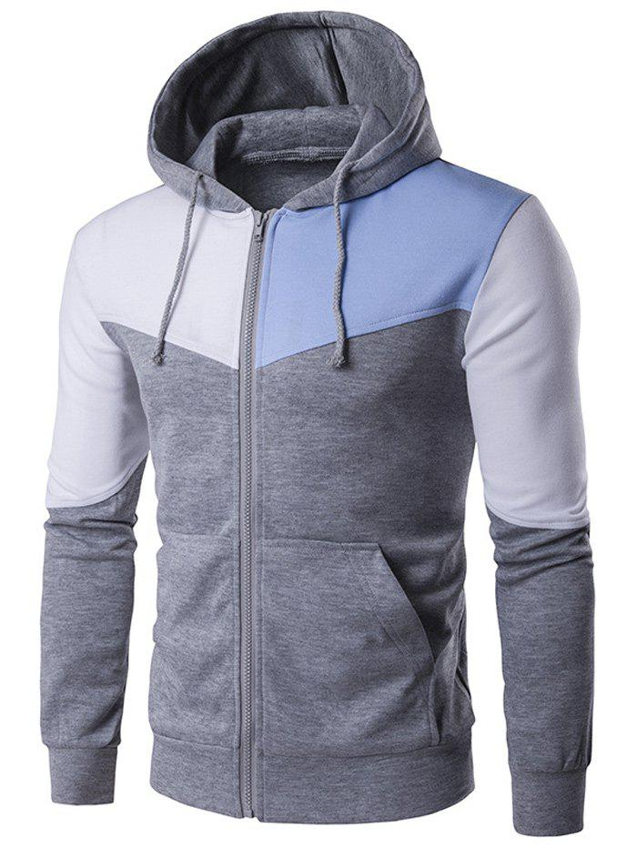 Pocket Contrast Panel Zip Up Hoodie - LIGHT GRAY 2XL