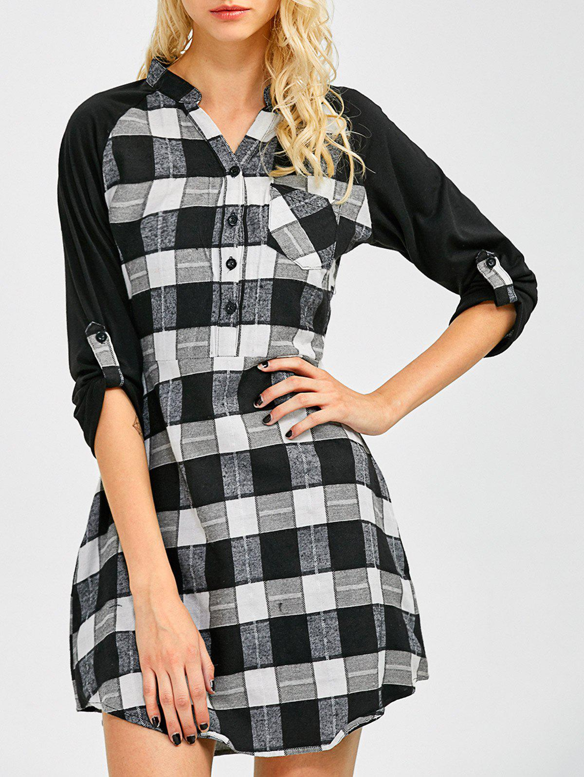 Lace Inset Checked Mini Shift Dress CHECKED