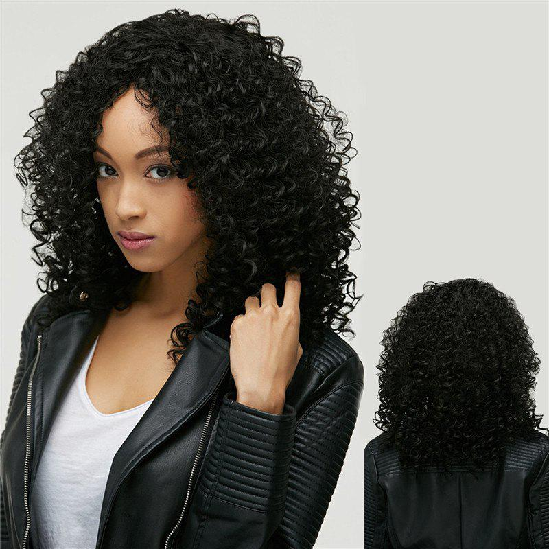 Afro Curly Medium Oblique Bang Synthetic Wig - BLACK