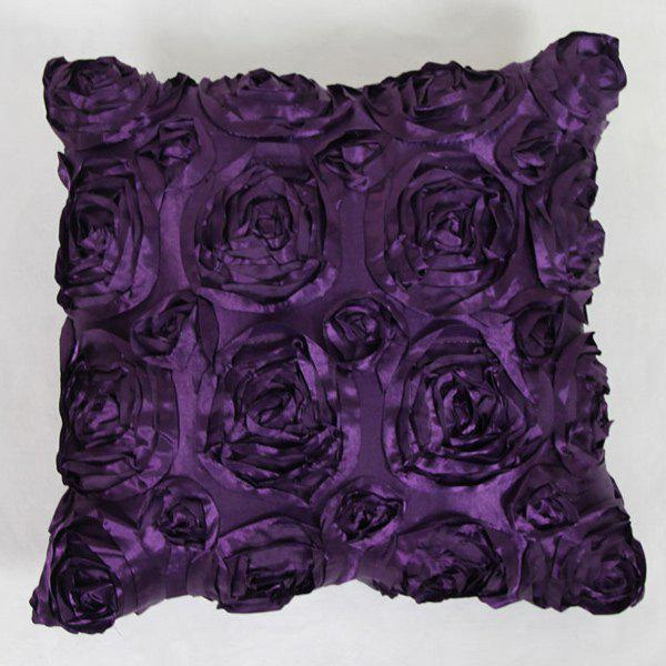 Sweet Home Decoration 3D Roses Back Cushion Pillow Case - DEEP PURPLE