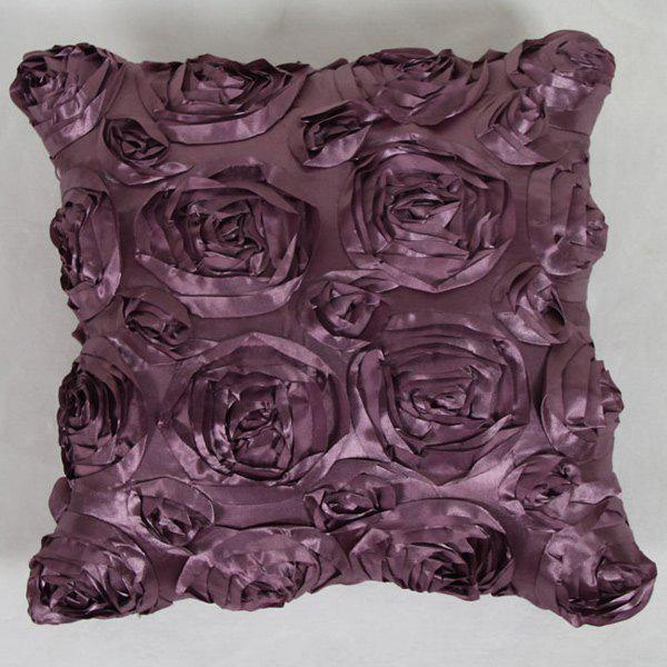 Sweet Home Decoration 3D Roses Back Cushion Pillow Case - LIGHT PURPLE