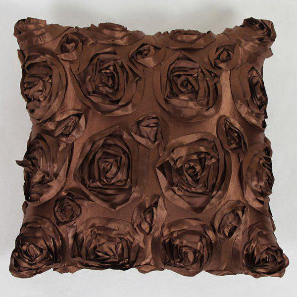 Sweet Home Decoration 3D Roses Back Cushion Pillow Case - COFFEE