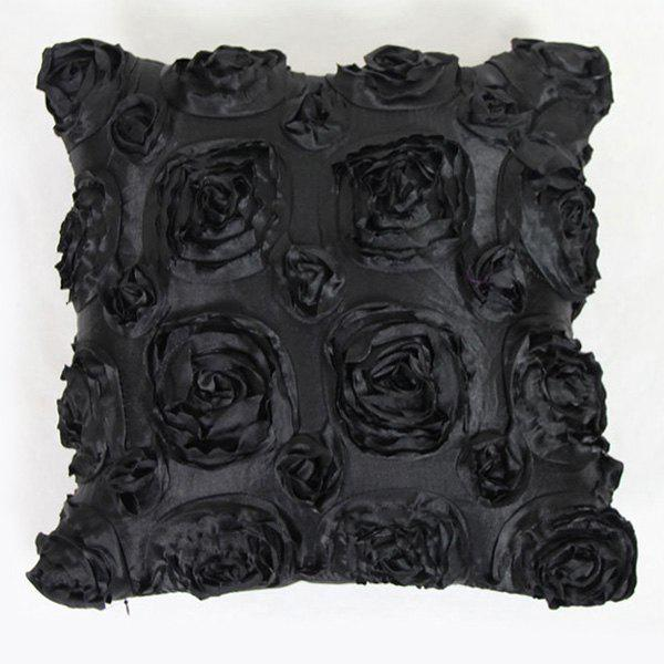 Sweet Home Decoration 3D Roses Back Cushion Pillow Case - BLACK