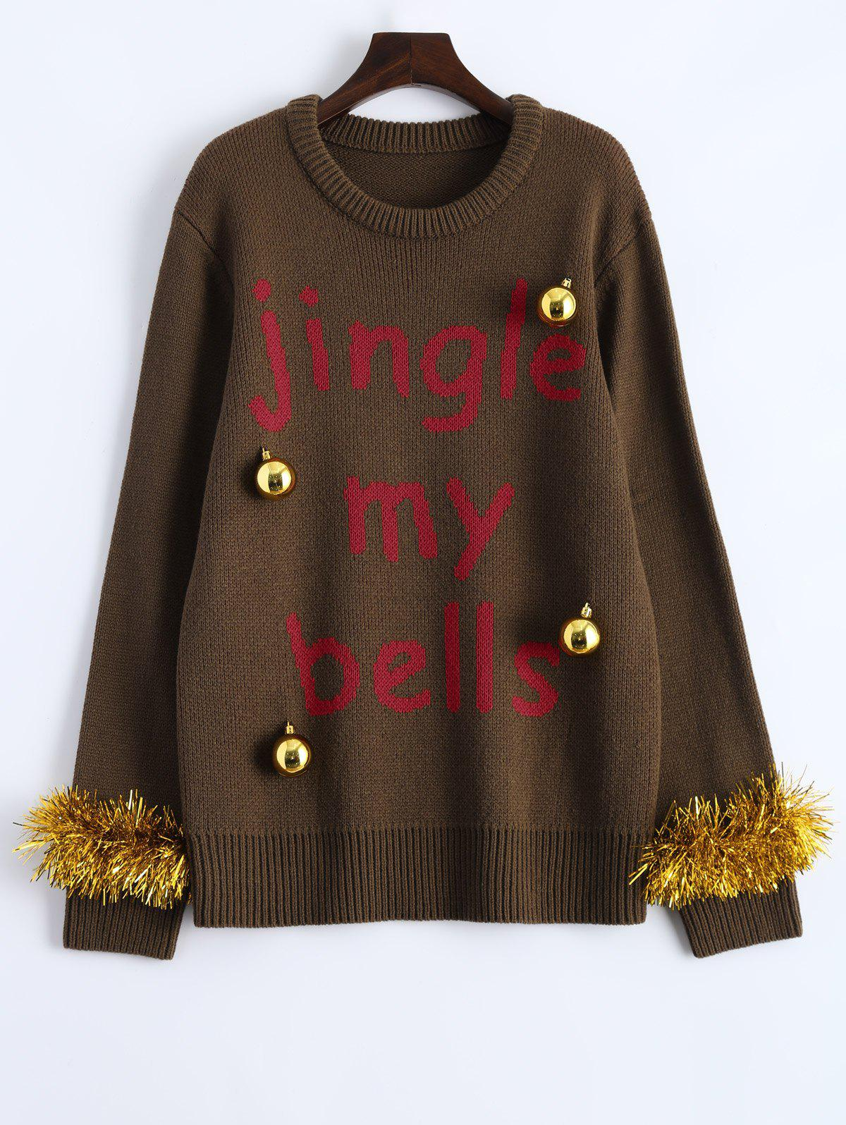 Crew Neck Christmas Decorations Embellished Sweater - BROWN M